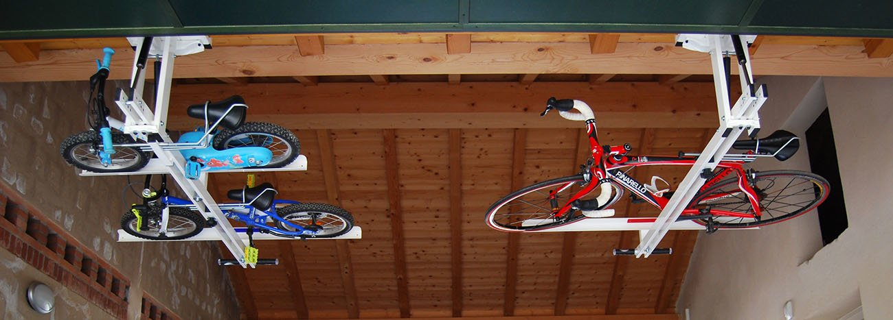 ceiling overhead bike rack for kids flat bike lift. Black Bedroom Furniture Sets. Home Design Ideas