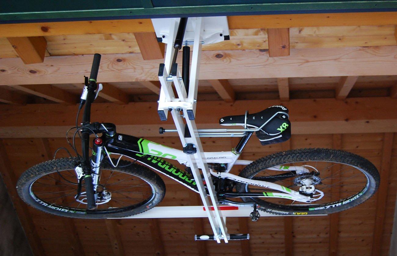 ceiling overhead bike rack for mountain bike trekking bike touring bike flat bike lift. Black Bedroom Furniture Sets. Home Design Ideas
