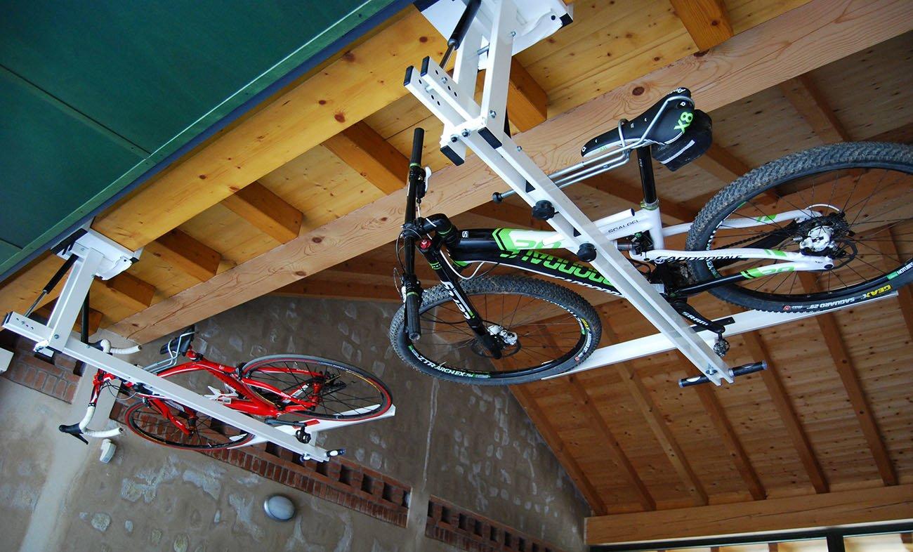 ceiling overhead bike rack for mountain bike trekking. Black Bedroom Furniture Sets. Home Design Ideas