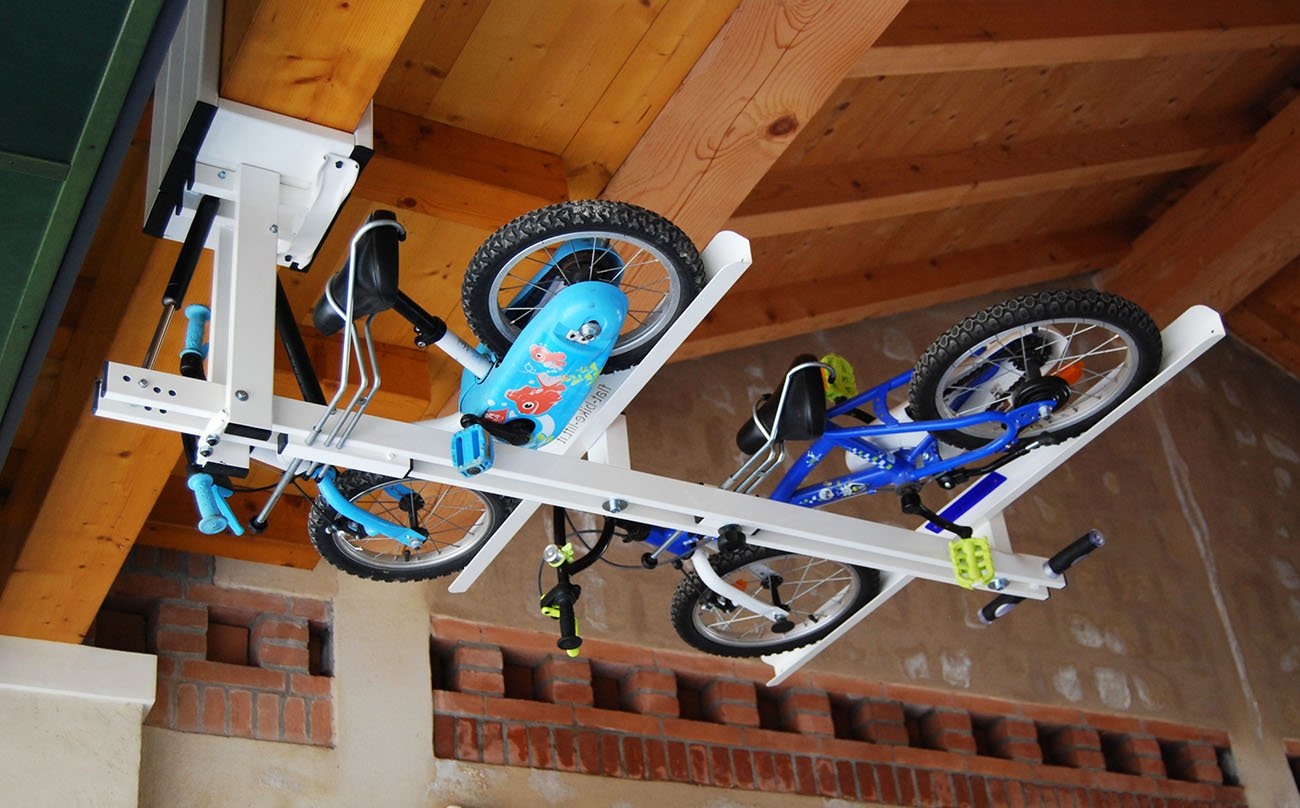 Indoor Bike Storage Ideas Ceiling Overhead Bike Rack For Kids Flat Bike Lift